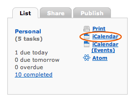iCalendar (Events) URL